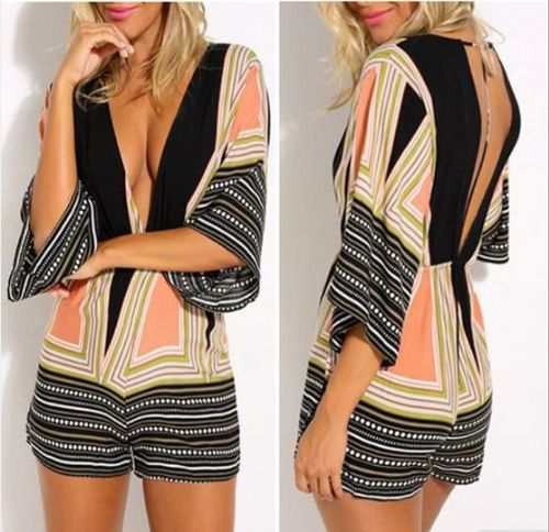 Women Fashion Deep V Neck Sleeve Elastic Backless Print Playsuit Jumpsuit